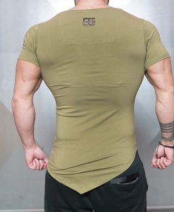 asymmetric v neck olive back