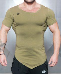 asymmetric v neck olive front