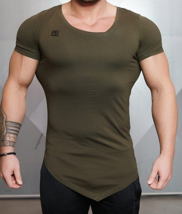 YUREI - asymmetric V neck ARMY Green