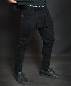 AMOS Distressed Jogger Jean - Black out