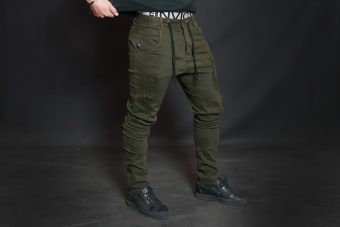 AMOS Distressed Jogger Jean - Olive Green