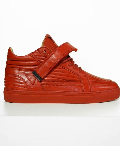 GUN METAL SNEAKER - BLOOD RED