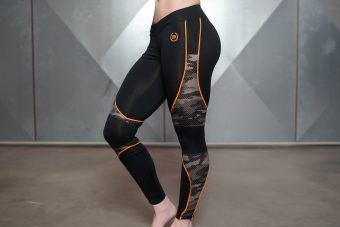 ARES Camo Legging - Black & Dutch Orange
