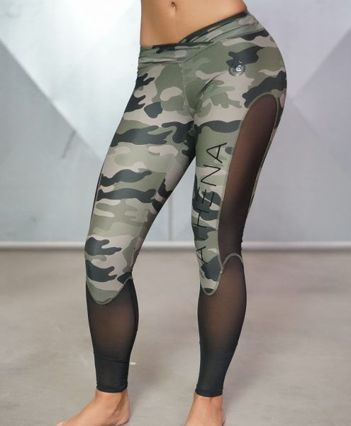 Athena Camo Legging - Olive Green & Black