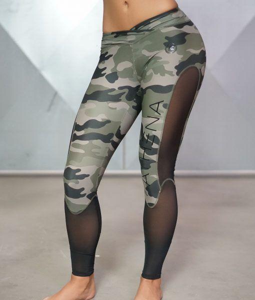 Athena Camo Legging - Olive Green & Black