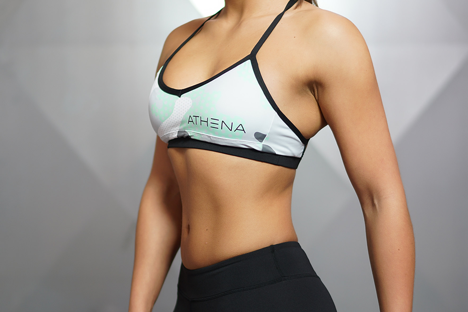 CEMO Deep-V Sport Bra - Mint Grey