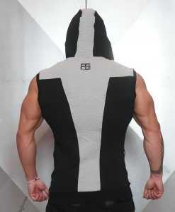 YUREI Sleeveless vest - BLACK & LIGHT GREY ACCENTS