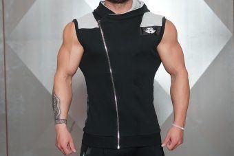 YUREI Sleeveless vest - BLACK & LIGHT GREY ACCENTS