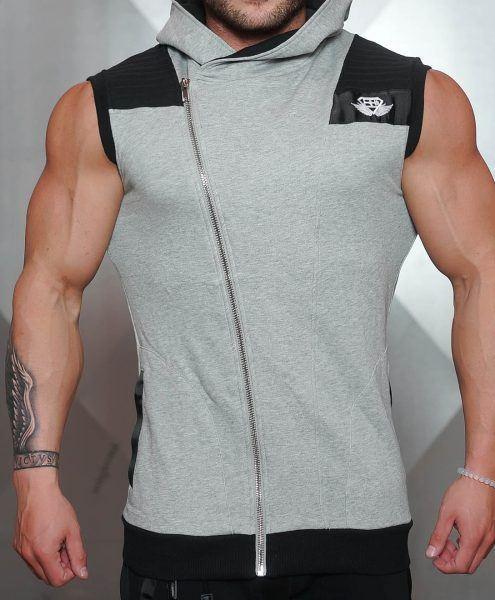 YUREI Sleeveless vest - LIGHT GREY & BLACK ACCENTS