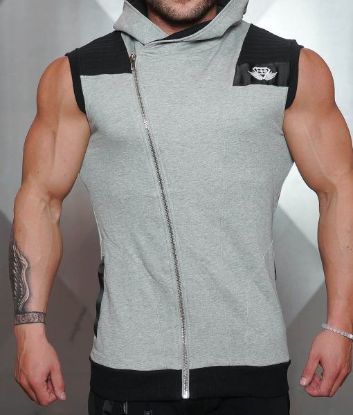 YUREI Sleeveless vest - LIGHT GREY & BLACK ACCENTS