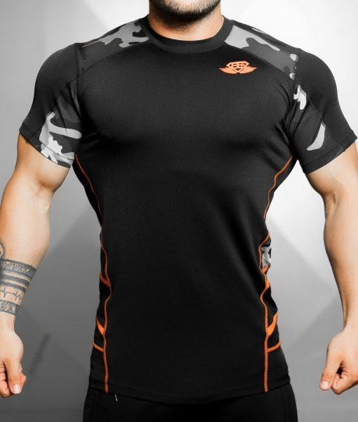 Renzo Performance Shirt - Black & Dutch orange