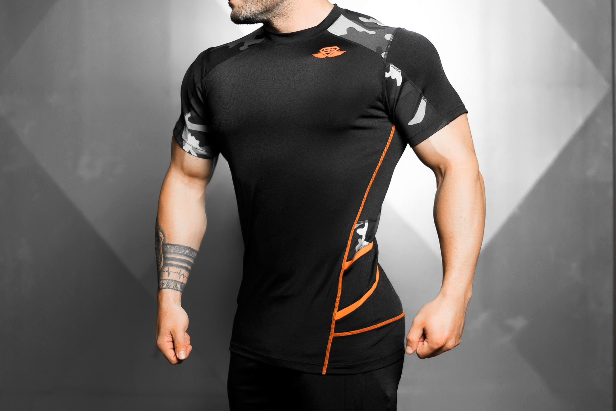 Renzo Performance Shirt - Black & Dutch orange