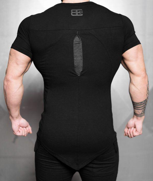 YUREI KONSTRUKT asymmetric V neck - BLACK ANTHRA