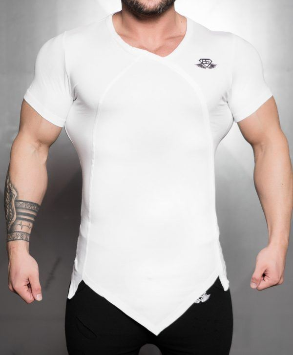 YUREI KONSTRUKT asymmetric V neck - White Out