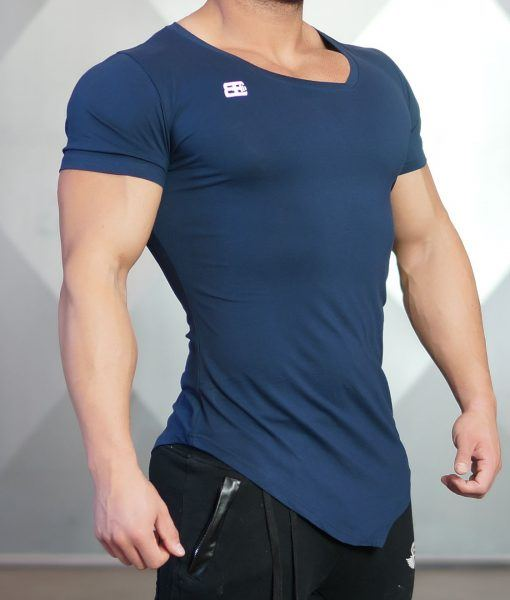 YUREI - asymmetric V neck Navy Blue