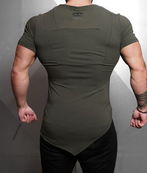 YUREI X Prometheus 2.0 - asymmetric V neck ARMY GREEN